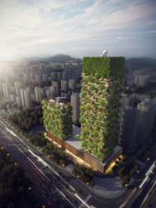 An architectural rendering of the vertical forest in Nanjing Image: Stefano Boeri Architects
